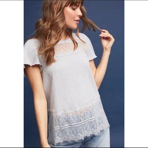 Anthropologie | Deletta Linen and Lace Tee